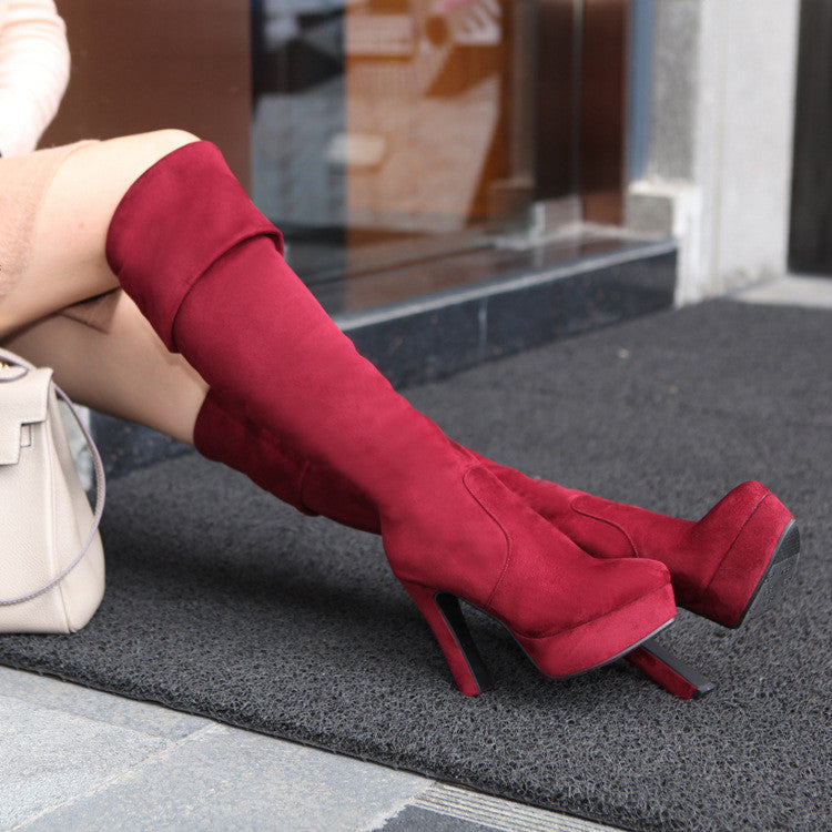 Women Over the Knee Boots Platform Artificial Suede High Heels Shoes Woman 2016 3557