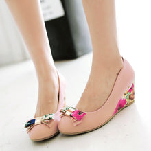 Load image into Gallery viewer, Flower Printed Bow Wedges High Heels Women Shoes 7240