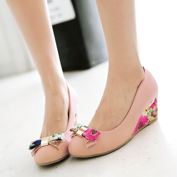Flower Printed Bow Wedges High Heels Women Shoes 7240