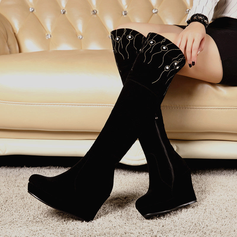 Zipper Knee High Boots Wedges Shoes Fall|Winter 9269