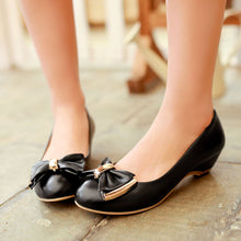 Load image into Gallery viewer, Bowtie Women Round Toe Wedges Shoes