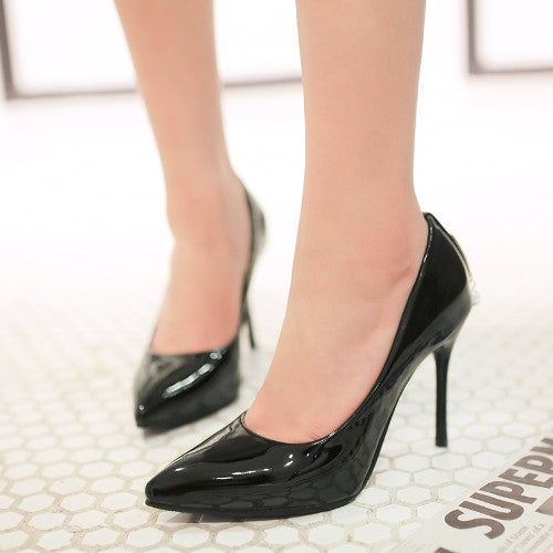 Rhinestone Pumps Patent Leather High Heels Stiletto Heel Shoes Woman