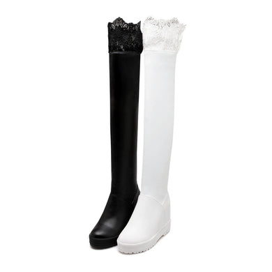 Lace Knee High Boots Women Wedges Shoes Fall|Winter 5999