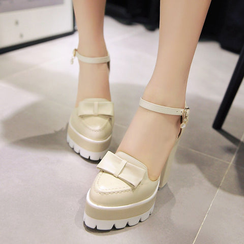 Bow Sandals Chunky Heel Pumps Platform High-heeled Shoes Woman