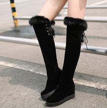 Load image into Gallery viewer, Women Over the Knee Boots Fur Wedges Platform Black High Heels Winter Shoes Woman 2016 3507
