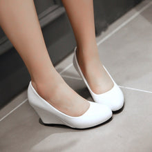 Load image into Gallery viewer, Patent Leather Round Toe Women Wedges Platform Shoes