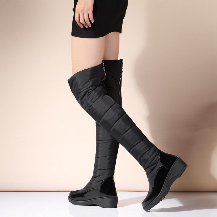 b6d3538b44ad Down Snow Boots Wedge Heel Knee High Boots 5316 – Shoeu