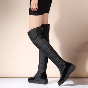 Down Snow Boots Wedge Heel Knee High Boots 5316