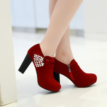 Load image into Gallery viewer, Rhinestone Ankle Boots Platform High Heels Shoes Woman
