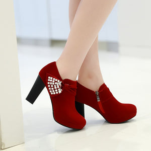 Rhinestone Ankle Boots Platform High Heels Shoes Woman