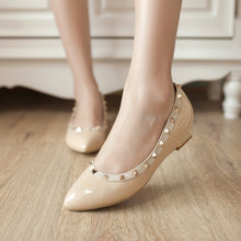 Load image into Gallery viewer, Patent Leather Women Wedges Pointed Toe Pumps Studded Shoes