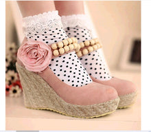 Load image into Gallery viewer, Flower Beads Women Woven Wedges Platform Shoes
