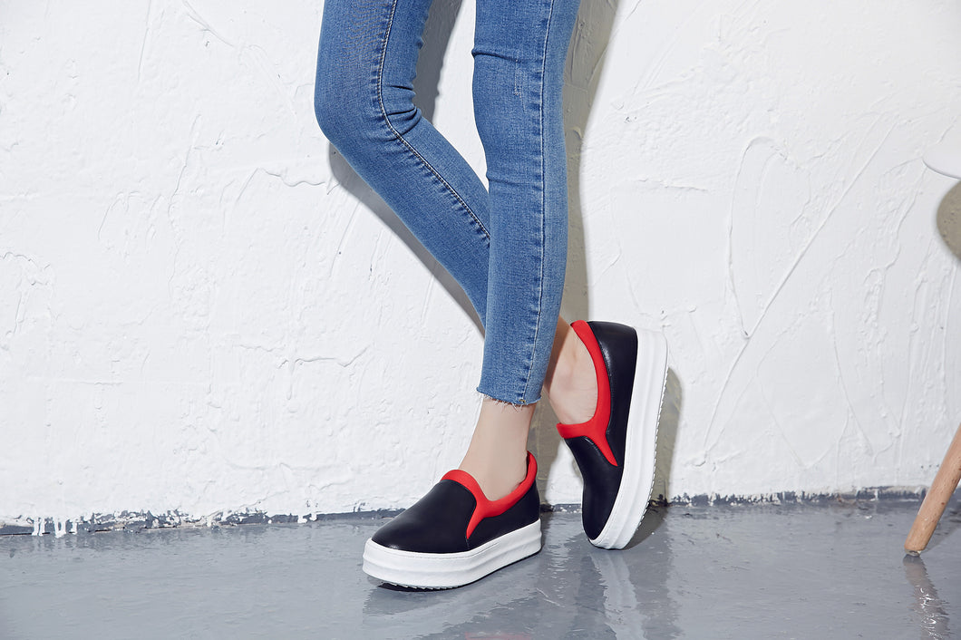 Casual Women Loafers Mixed Colors Platform Shoes