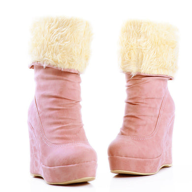 Women Snow Boots Platform Wedges Fur Inside Winter Mid Calf Boots Shoes Woman 2016 3523