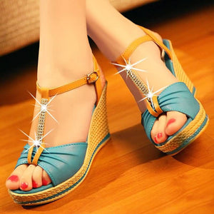 Wedges Sandals Women Rhinestone T Straps Platform Shoes Woman 3449