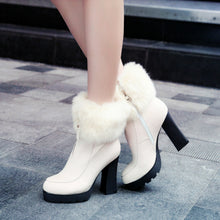 Load image into Gallery viewer, Fur Ankle Boots Zipper Platform High Heels Winter Shoes Woman