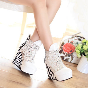 Round Toe Sequined Platform Ankle Boots Wedges Heels Shoes 3852