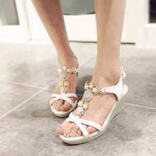 Load image into Gallery viewer, Wedges Sandals Women Platform Pumps Rhinestone Pearl High Heels Shoes Woman 3542