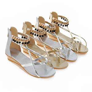 Metal Flip Flop Sandals Shoes Woman
