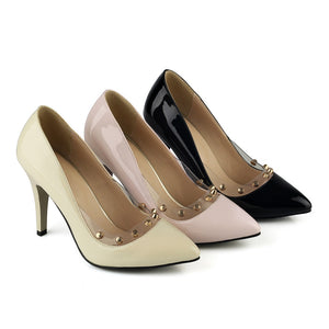 Studded Stiletto Heel Pumps High Heels Fashion Women Shoes 5013