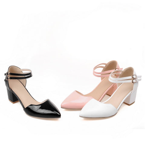 Pointed Toe High Heels Ankle Straps Pumps Plus Size Shoes Woman