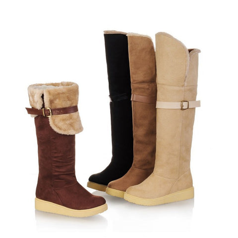 Buckle Belt Fur Knee High Boots Women Snow Boots 1113