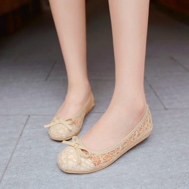 Breathable Mesh Bow Flat Slip-on Shoes 1397