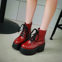 Load image into Gallery viewer, Lace Up Studded Boots Women Wedges Platform Shoes Fall|Winter 9429