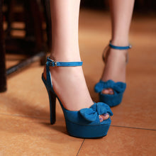 Load image into Gallery viewer, Bowtie Platform Sandals Ankle Straps Peep Toes Women Pumps High Heels Shoes Woman