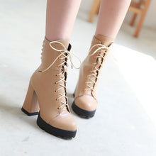 Load image into Gallery viewer, Fashion Women Ankle Boots for Autumn and Winter New Arrival Lace Up Studded 7194