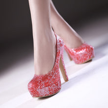 Load image into Gallery viewer, Lace Women Pumps Platform High Heels Dress Shoes 3475