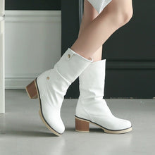 Load image into Gallery viewer, Lapel Ankle Boots Low Chunky Heels Women Shoes 6148