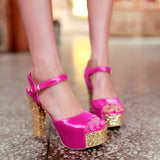 Peep Toes Platform Sandals Sequined Women Pumps High Heels Shoes Woman