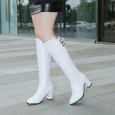 Buckle Chunky Heel Motorcycle Tall Boots 5346
