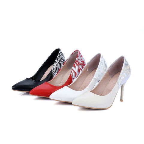 Womens High Heel Shoes Pointed Toe Flower Printed Lady Pumps Party Dress Shoes