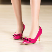 Load image into Gallery viewer, Pointed Toe Bow Women Pumps Spike High Heels Shoes 7407