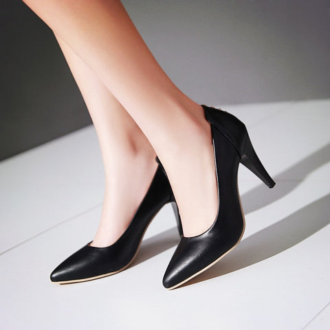 Pointed Toe Studded Women Pumps High Heels Dress Shoes