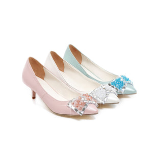 Rhinestone Bow Stiletto Heel Pumps Platform High Heels Fashion Women Shoes 7204