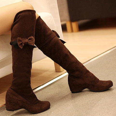 Bowtie Women Knee High Boots Elastic Wedges Shoes Woman 3349
