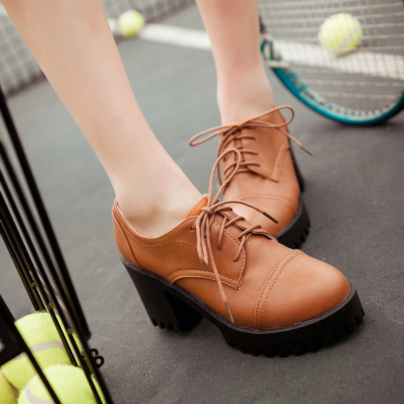 Women Pumps Lace Up High Heels Thick Heeled Round Toe Pu Leather Platform Shoes Woman 3414