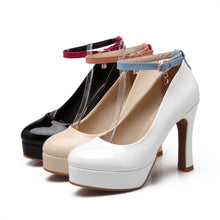 Load image into Gallery viewer, Ankle Straps Patent Leather Chunky Heel Pumps Platform High Heels Fashion Women Shoes 1309