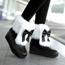 Load image into Gallery viewer, Rabbit Fur Snow Boots with Bow Winter Women Shoes