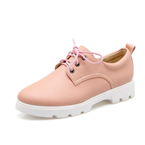 Round Toe Lace Up Loafers Casual Women Shoes