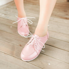 Load image into Gallery viewer, Round Toe Lace Up Flats Women Shoes 8440