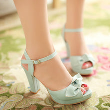 Load image into Gallery viewer, Bowtie Platform Sandals Ankle Straps Buckle Women Pumps High Heels Shoes Woman 3441