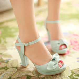Bowtie Platform Sandals Ankle Straps Buckle Women Pumps High Heels Shoes Woman 3441