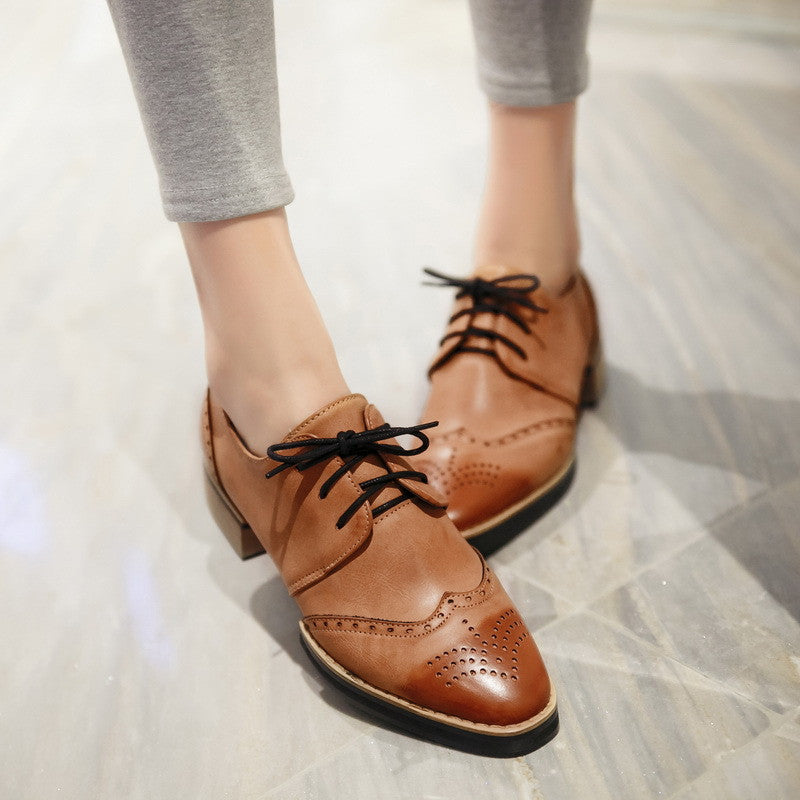 Lace Up Women Pumps Platform Cutout Oxfords Shoes Woman