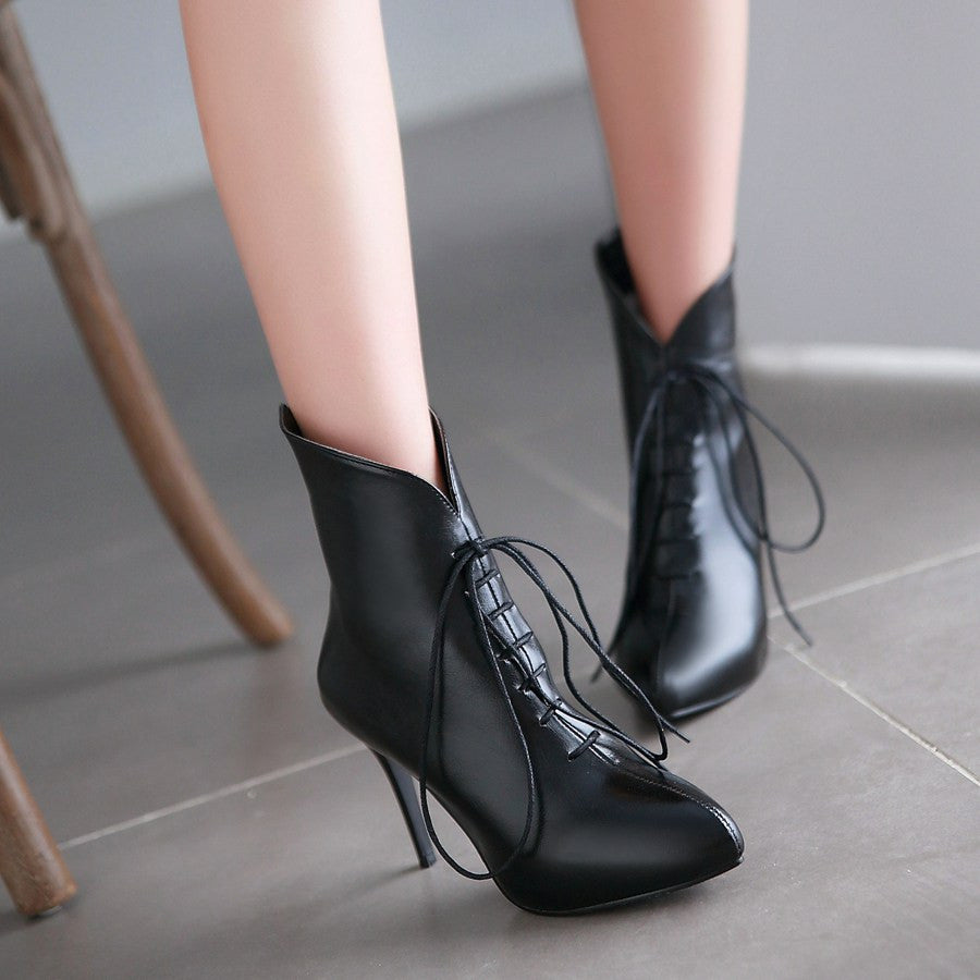 Pointed Toe Lace Up Ankle Boots High Heels Women Shoes Fall|Winter 4886