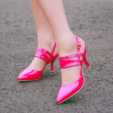Patent Leather Buckle Ankle Wrap Women Sandals Stiletto Heel 1857