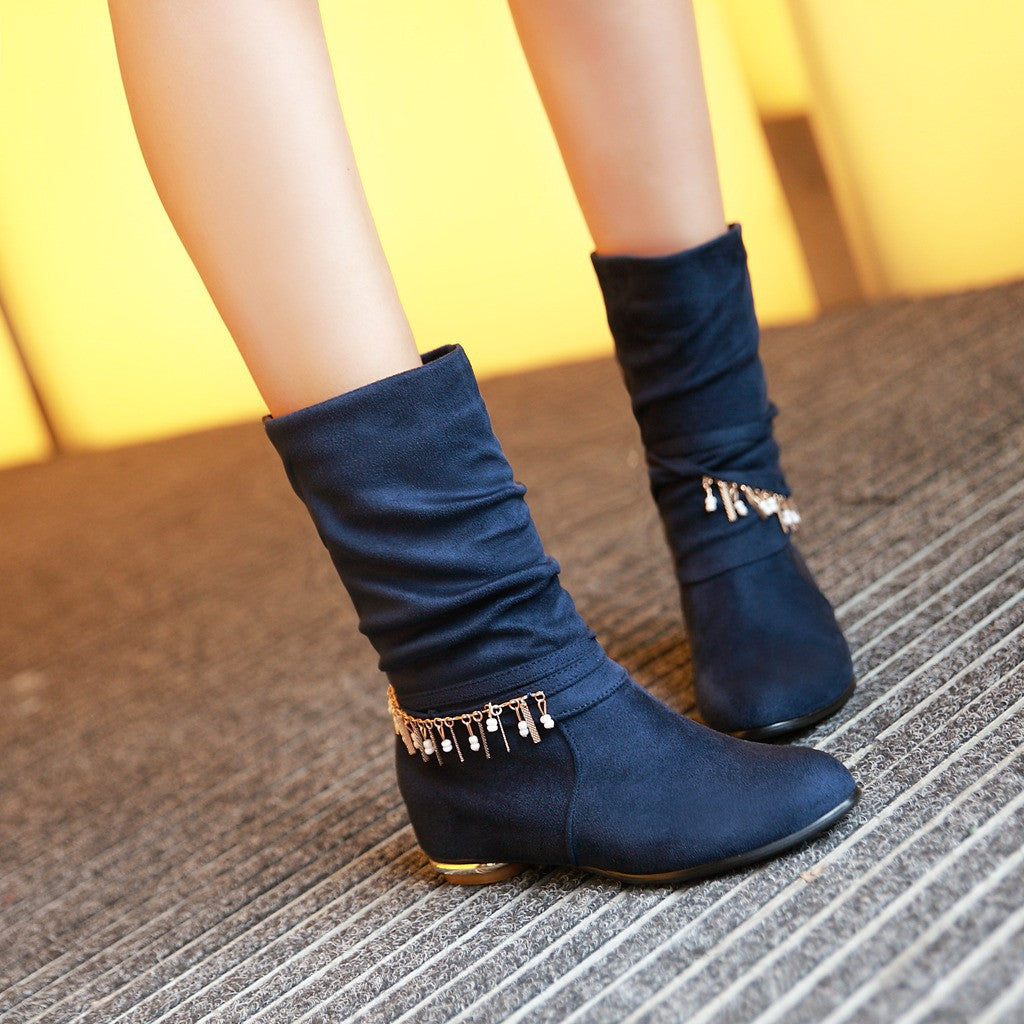 Chains Tassel Women Wedges Boots Mid Calf Artificial Suede Shoes Woman 2016 3391